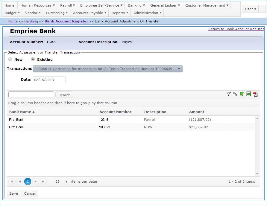 ba add bank transfer to register
