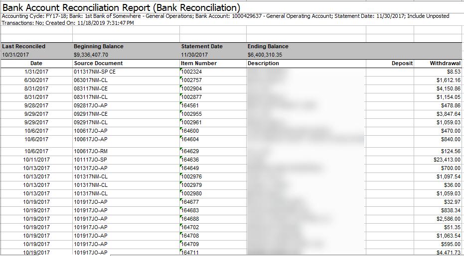 ba bank account reconciliation report